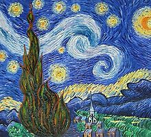 Starry Night  Oil Painting	HS0221 by yelia0722