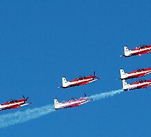 RAAF Roulettes in Delta Formation - Avalon 2011 by Bev Pascoe