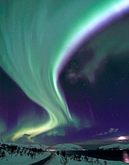 Aurora Borealis by the road by Frank Olsen