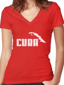 CUBA Women's Fitted V-Neck T-Shirt