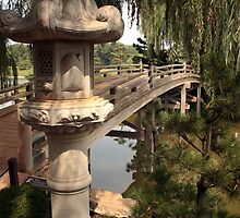 Japanese Bridge at the entrance to Sansho-En by John Gaffen