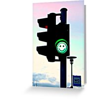 Smiley Green Light Greeting Card
