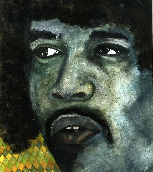 128 - JIMI HENDRIX - DAVE EDWARDS - WATERCOLOUR - 2003 by BLYTHART