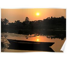 Sunset at river  Poster