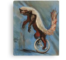 Honey Badger on a Unicycle Canvas Print