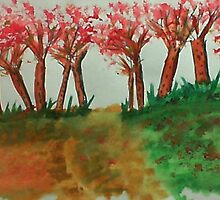 More thicker trees on the hill in abstact/casual, watercolor by Anna  Lewis