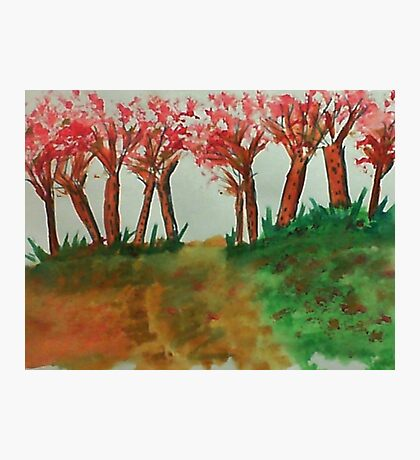 More thicker trees on the hill in abstact/casual, watercolor Photographic Print