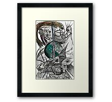 Wired Sheep with crown plugged into alien robot guy  Framed Print