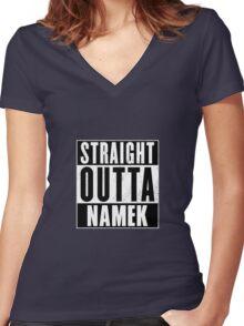 STRAIGHT OUTTA NAMEK DBZ Women's Fitted V-Neck T-Shirt