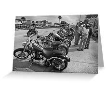 Bikes and bikers BW Greeting Card