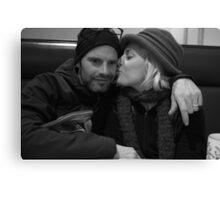 Mama Kissing Papa Canvas Print
