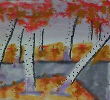 Birch trees by a creek, watercolor by Anna  Lewis