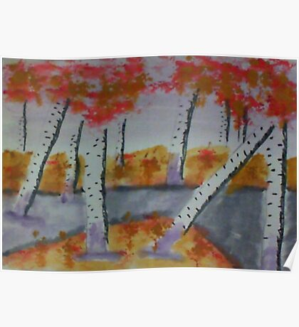 Birch trees by a creek, watercolor Poster