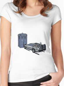 Dr Who Vs Back To the Future Women's Fitted Scoop T-Shirt