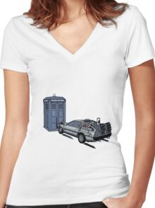 Dr Who Vs Back To the Future Women's Fitted V-Neck T-Shirt
