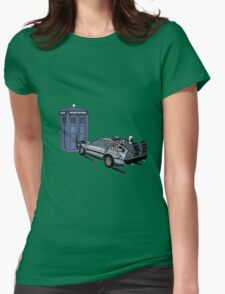 Dr Who Vs Back To the Future Womens Fitted T-Shirt