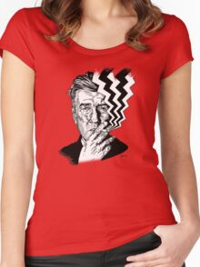 David Lynch smoking Women's Fitted Scoop T-Shirt