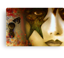 Secrets of My Soul You Will Never Understand...angry red, passion blue, but mostly shades of green Canvas Print