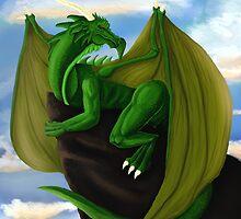 Green dragon at sunset by codyluvsbiomech