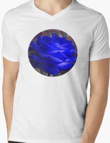 Rose in Blue Mens V-Neck T-Shirt