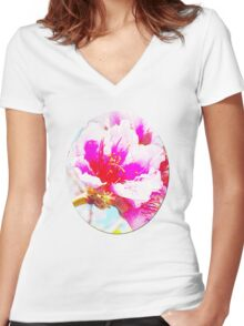 Chalk Blossoms Women's Fitted V-Neck T-Shirt
