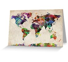 World Map Urban Watercolor Greeting Card