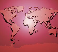 World Map in Red by Michael Tompsett