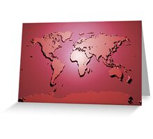 World Map in Red Greeting Card