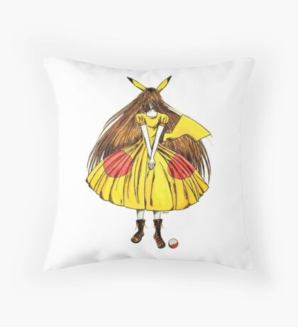 Lady Pikachu Throw Pillow