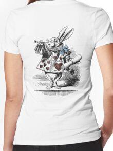 White Rabbit from Alice's Adventures in Wonderland Women's Fitted V-Neck T-Shirt