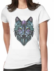 Ornate Wolf (Full Colored) Womens Fitted T-Shirt