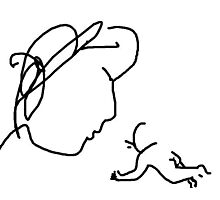 mother and child -(110311c)- mouse drawn/ms paint Photographic Print
