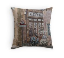 The only café in the village Puicheric France Throw Pillow