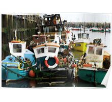 Scarborough Harbour Fishing boats Poster