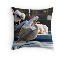 Yawning pelican Throw Pillow