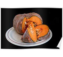 Pumpkin on black background Poster