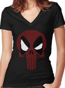 PUNISHERPOOL Women's Fitted V-Neck T-Shirt