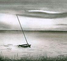 Catamaran at Sunset by Debbie  Adams