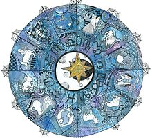 Watercolor Zentangle Zodiac Chart by ally1021