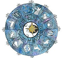 Watercolor Zentangle Zodiac Chart Photographic Print