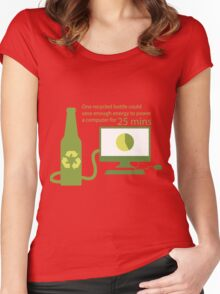 Recycled Glass Bottle Illustration  Women's Fitted Scoop T-Shirt