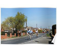 Cyclists in a Country Lane Poster