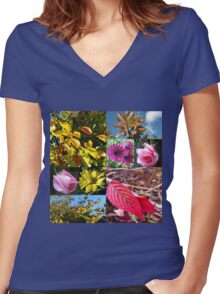Autumn Collage with Roses Women's Fitted V-Neck T-Shirt