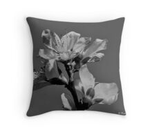 Peach Blossoms In Grayscale Throw Pillow