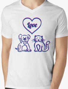 Cat and dog Mens V-Neck T-Shirt