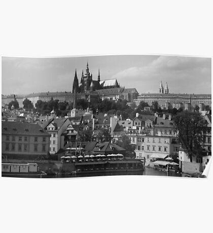 Prague Castle Black and White Poster