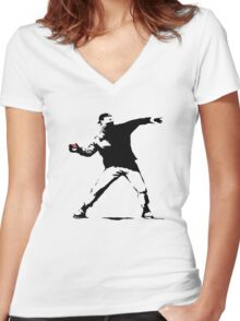 Pokeball Banksy Women's Fitted V-Neck T-Shirt