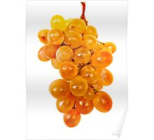 Ripe yellow grape in isolated Poster