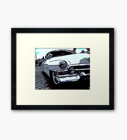 Cartoon of a classic car Framed Print