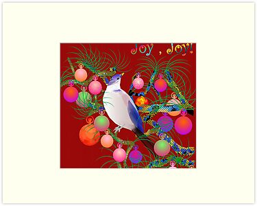 bird in christmas balls by LisaBeth